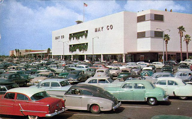 1950s Mall Look At All Those Cars Lakewood Center Los Angeles