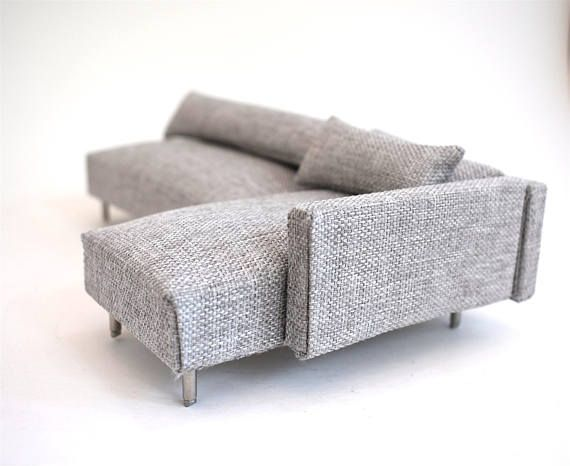 Sofa Couch Chaise Modern Miniatures 1 12 Scale Dolls House Warm