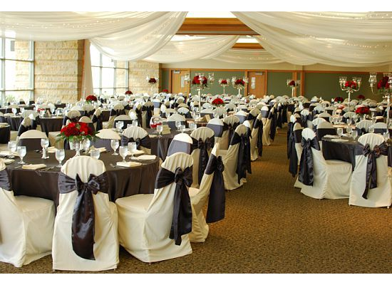 Ivory Chair Covers Charcoal Satin Sashes Charcoal Satin Table