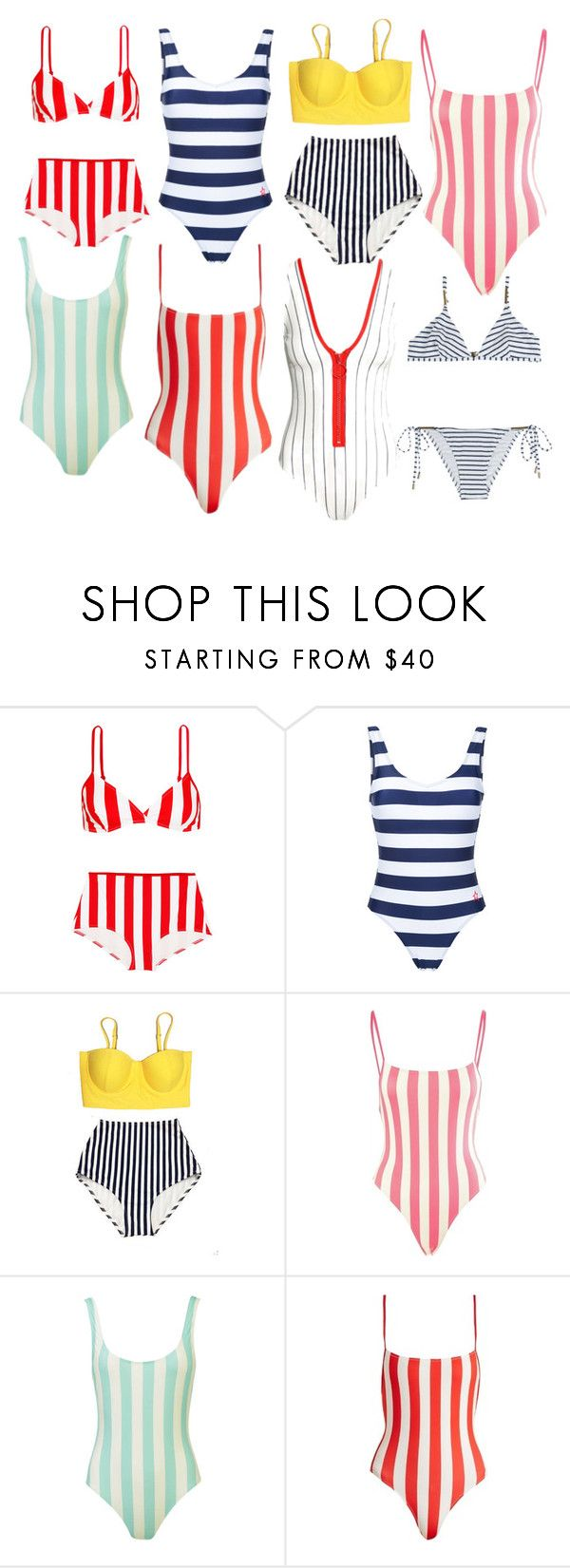 """""""Swimmin' in Stripes"""" by styledpermanently ❤ liked on Polyvore featuring Solid & Striped, Perfect Moment and Melissa Odabash"""
