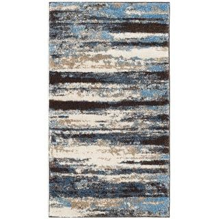 Photo of Safavieh Retro Herle Distressed Modern Abstract Rug (2'6″ x 4′ – Cream/Blue), Ivory