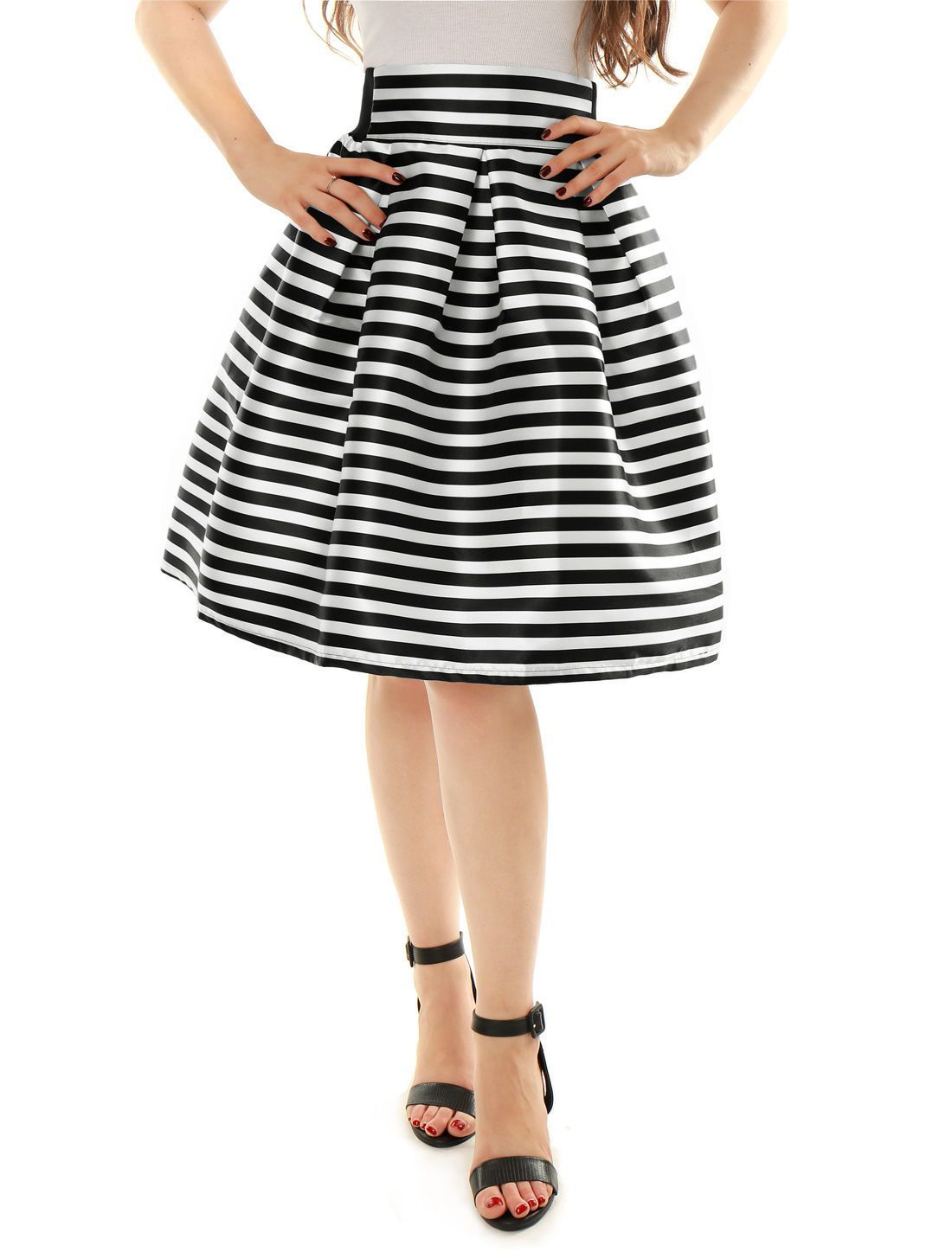 Allegra K Women Striped High Waist Pleated Knee Length A-Line Skirt ... 1aad7bc4a