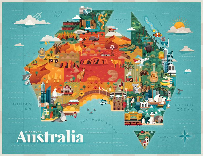 http://www.feeldesain.com/discover-australia.html | Illustrated map, Map  collage, Illustrator tutorials