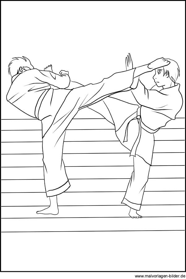 Malvorlage Karate Sport Ausmalbild Jpg 600 900픽셀 Martial Arts Kids Karate Martial Arts Coloring Pages