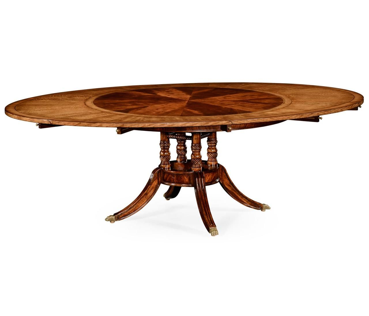 High Quality Round To Oval Table With Perimeter Leaves Finely