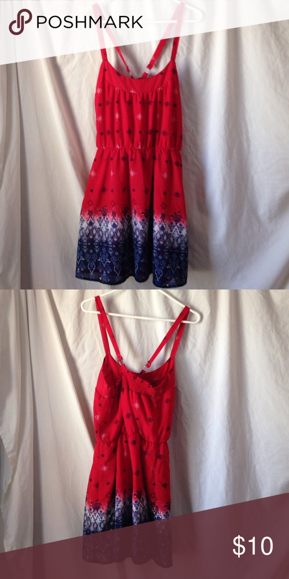 Cross-crossed Strap Dress Red, white, and blue patterned dress. Adjustable straps. Great for Summer lounging! Rewind  Dresses