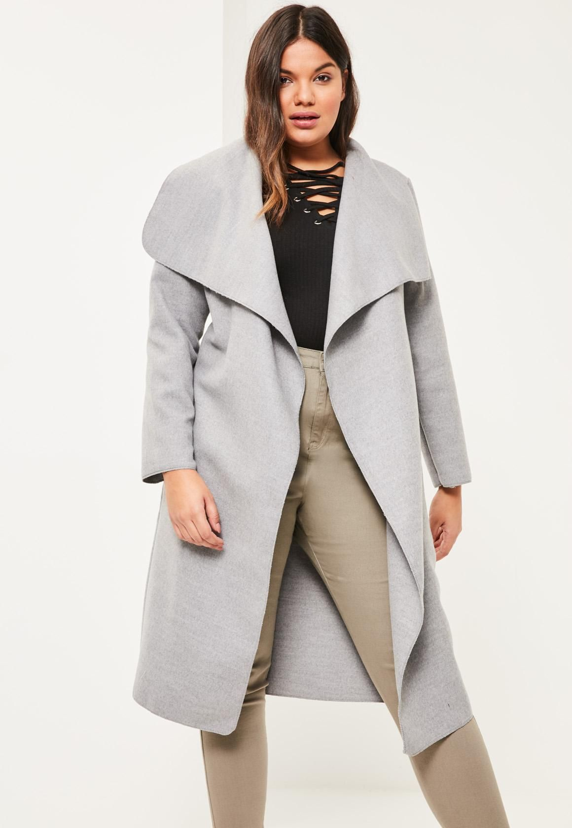 62d263ca26b Missguided - Plus Size Grey Oversized Waterfall Duster Coat ...