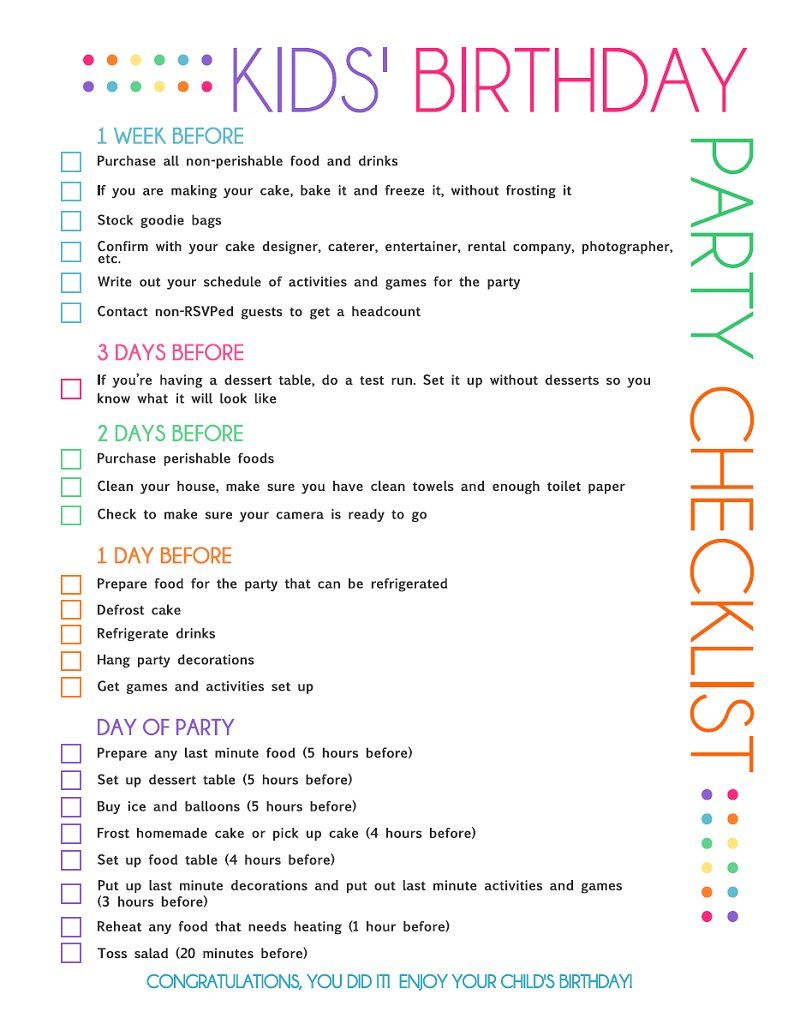 Kids Birthday Party Checklist With This You No Longer Have To Wonder When Order The Cake Or Send Out Invitations Because Its
