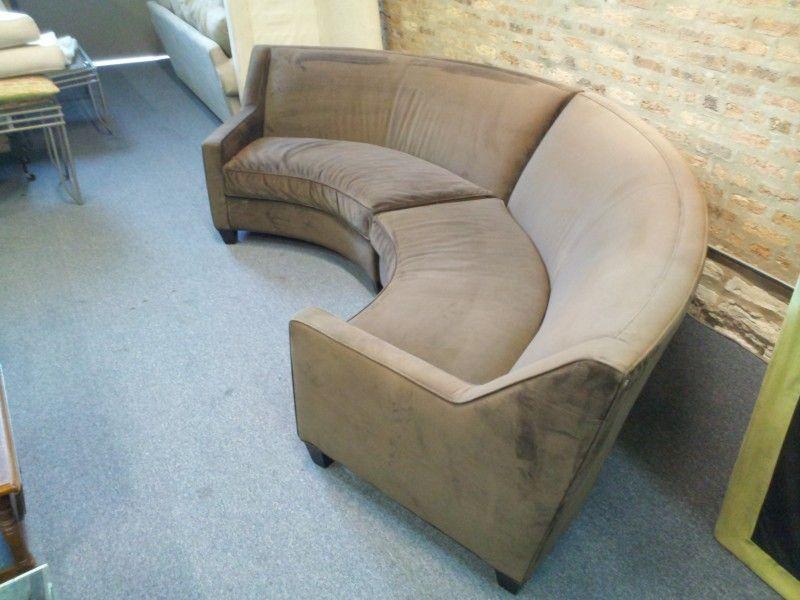 Semi Circle Sofa Home Furniture Chocolate Microfiber Room