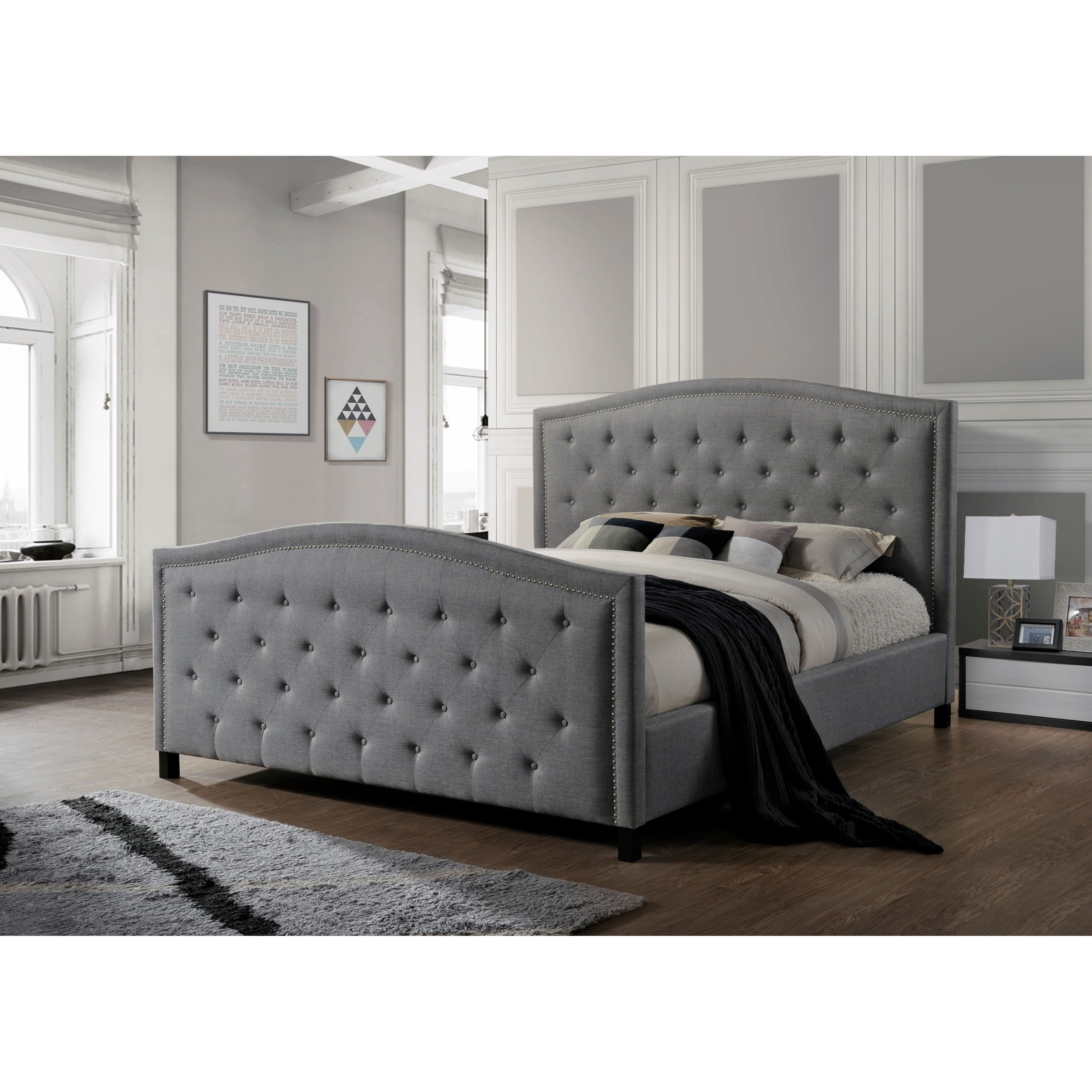 Luxeo Camden Tufted Grey Upholstered King Size Bed Grey
