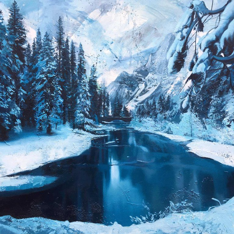 Andrew Newton Ice River Canada Winter Painting By British Contemporary Award Winning Artist In 2020 Winter Painting Winter Landscape Landscape Paintings