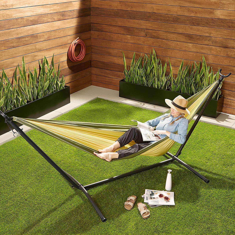 Luxuriöser outdoorspaß mit der leichten doppelcampinghängematte