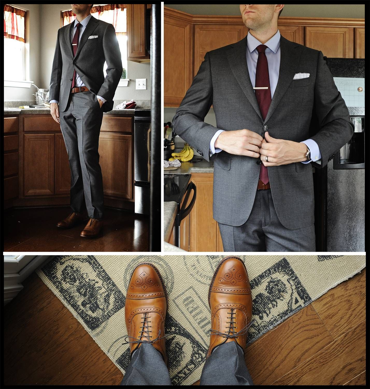 Gray suit, tan shoes, and a burgundy tie. Balance your dark with color.