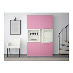 BESTÅ Storage combination w glass doors, Lappviken pink, Sindvik white clear glass - - - IKEA