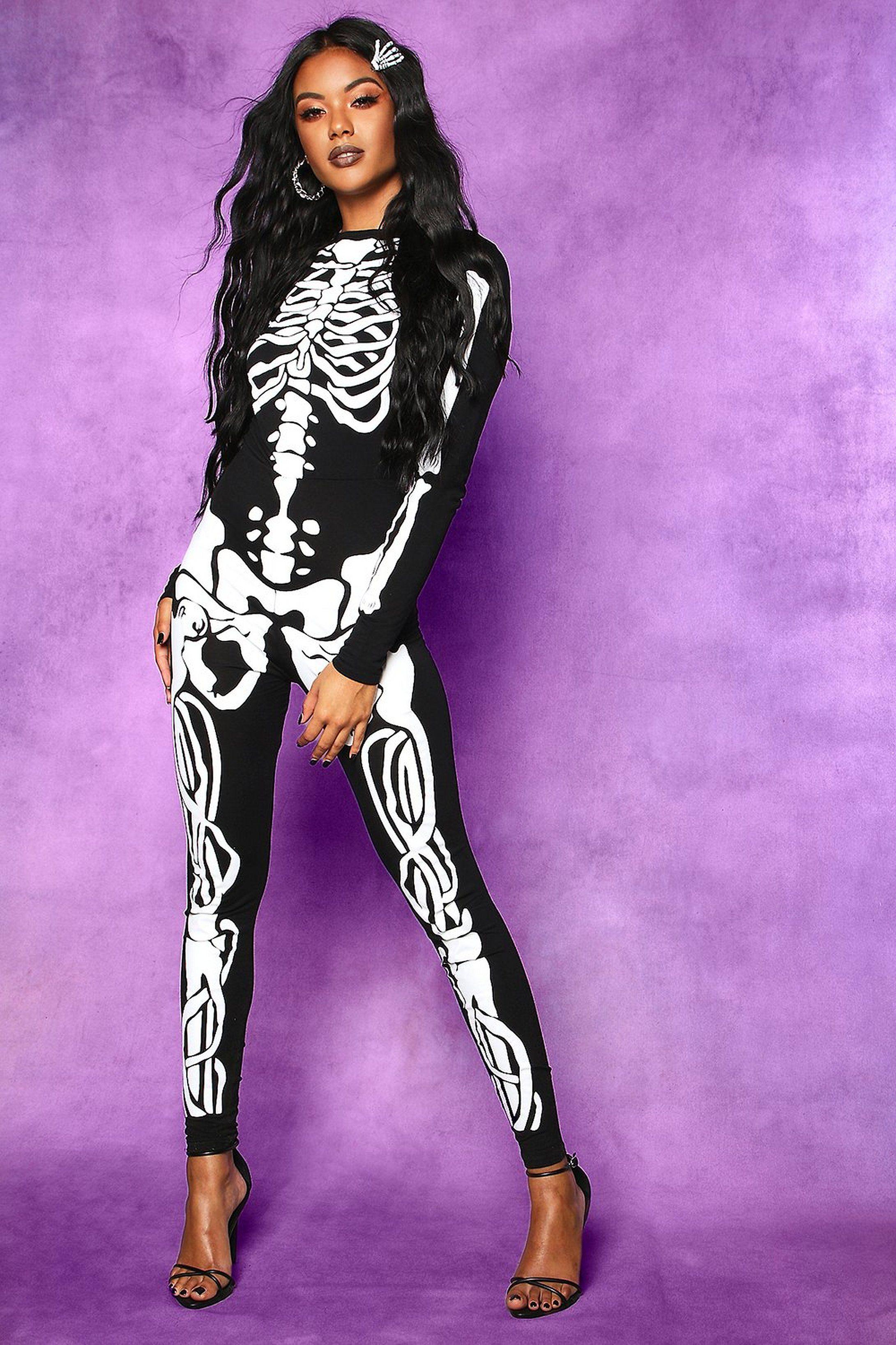 Halloween Skeleton Jumpsuit boohoo Halloween outfits
