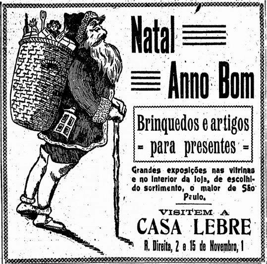 Propaganda da Casa Lebre em 1918 com um Papai Noel diferente daquele que temos nos dias atuais.