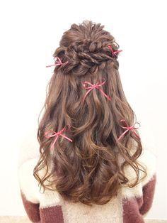 結婚式の髪型 ヘアアレンジ リボンハーフアップ 髪型 ハーフアップ
