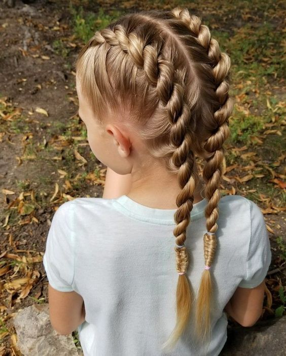 Braided Hairstyle Children Kids For School Little Girls Children S Hairstyles For Long Hair Cute Child Childre Hair Styles Girl Hair Dos Little Girl Hairstyles