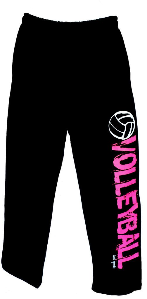 Volleyball Sweatpants In Black With Pink Print Volleyball Sweatpants Fun Pants Volleyball Outfits