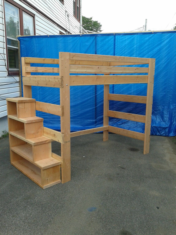 Loft bedroom staircase  Super Heavy Duty Loft Bed With Stair Case Shelf por FastElegance