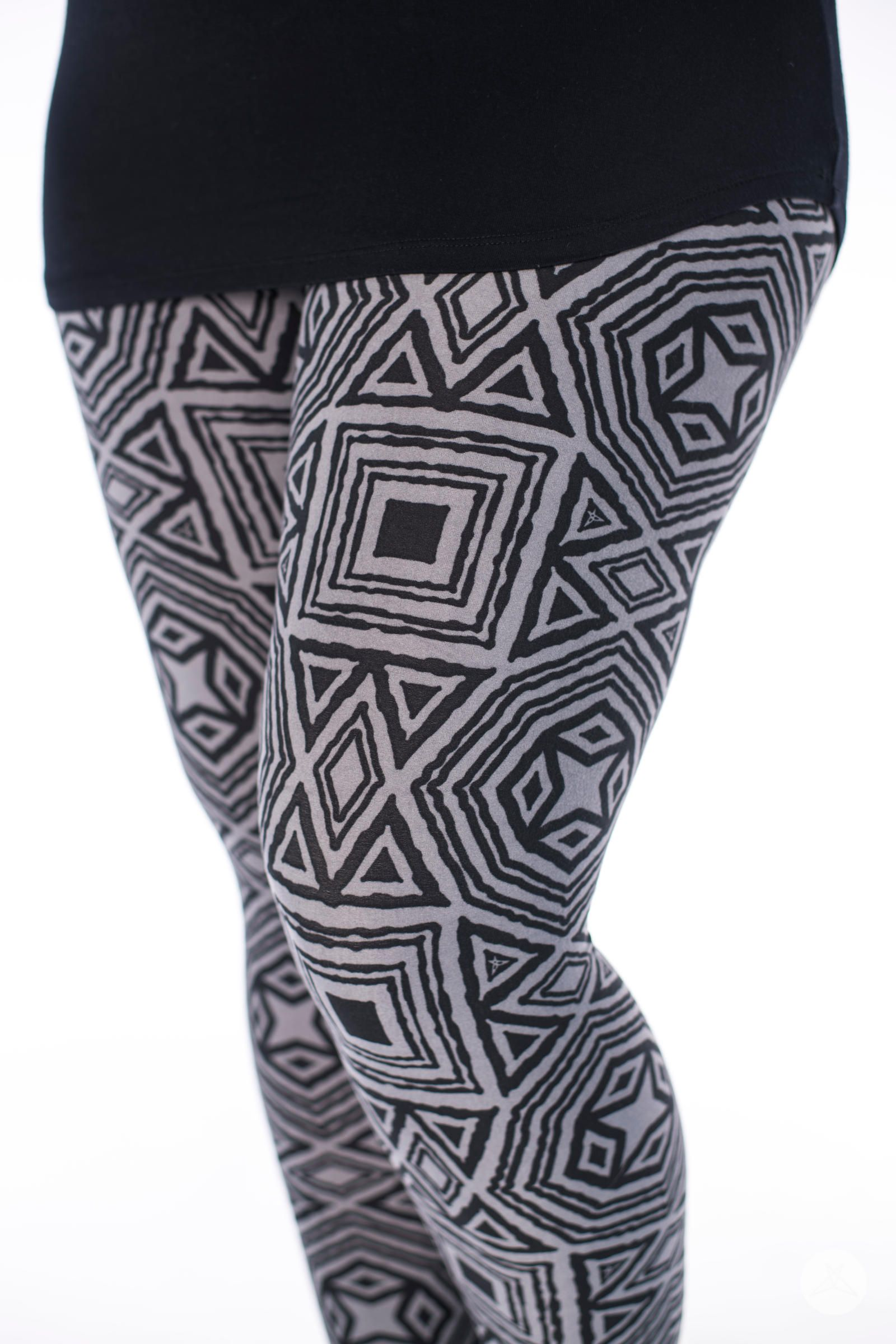 e3291cac7140ac SweetLegs.ca | Medieval Goddess geometric black and grey abstract shapes.  Leggings for women and kids, petite, one size, plus and girls.