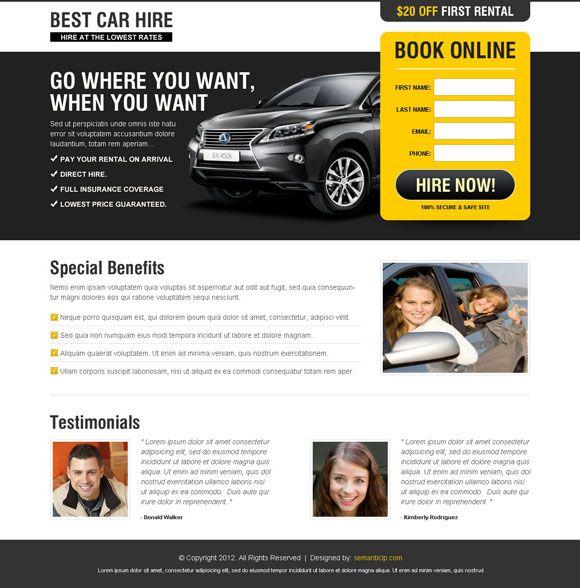 Car Hire Or Car Rental Business Landing Page Landing Page