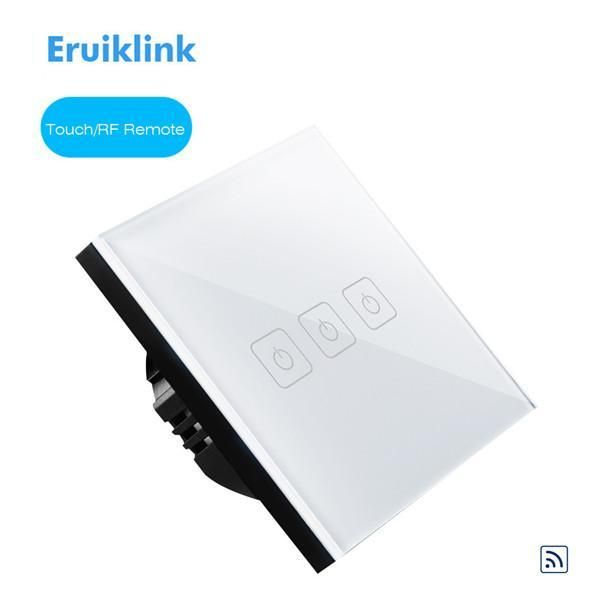 Item Type: Switches Warranty: 1 year Model Number: E-R03W Certification: CE,RoHS Features: Luxury Glass Touch Panel/RF433 remote control Remote Distance: 20 M Brand Name: Eruiklink Switch Type: Remote Control Material: Plastic Item type: Eruiklink EU Standard 3 Gang 1 Way Touch Remote switch Power load: 3-200W / gang Size: 86*86*36mm Color: White Mechanical Life: 100,000 times Applicable to: Common lamps, Like incandescent, fluorescent Material: Crystal tempered glass Max Voltage : AC170-240V/50 #touchpanel