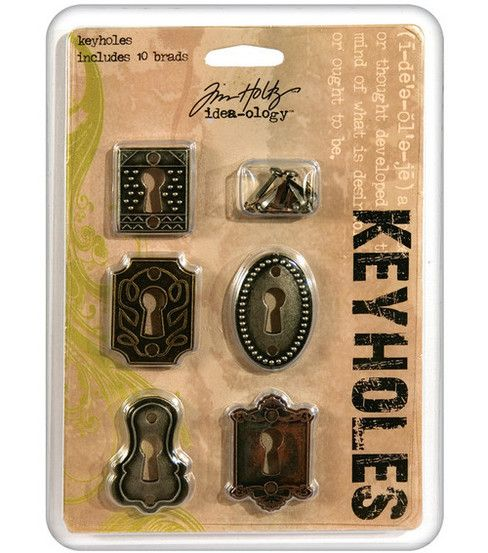 Tim Holtz Idea-Ology Keyholes Fasteners Antique MetallicTim Holtz Idea-Ology Keyholes Fasteners Antique Metallic,