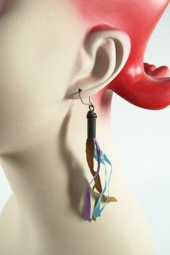Brass Faux Shell Casing and Ribbon Earrings | JulisJewels - Jewelry on ArtFire