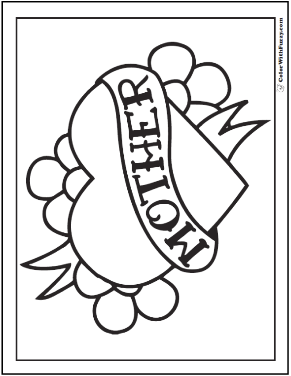 Happy Mother S Day Coloring Picture Heart Flowers Banner Mothers Day Coloring Pages Coloring Pages Coloring Pictures