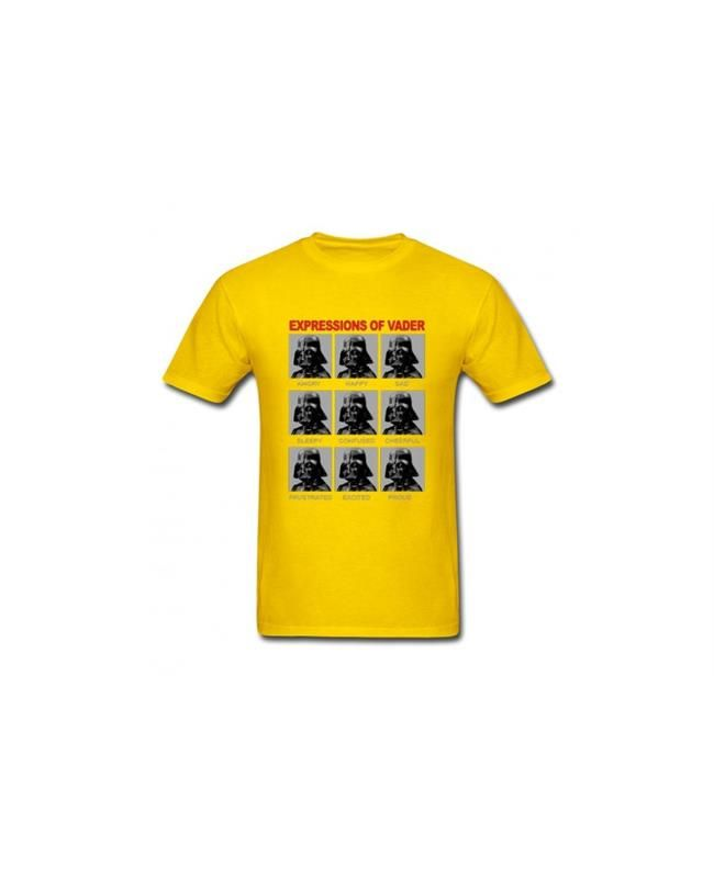 #DarthVaderExpressions #Tshirts #StarsWarHead #tshirts #StarsWarsYellow #Tee Movie Star Wars Men's T-Shirt features a color-blocked team graphic on lightweight, breathable fabric that wicks sweat from the skin.
