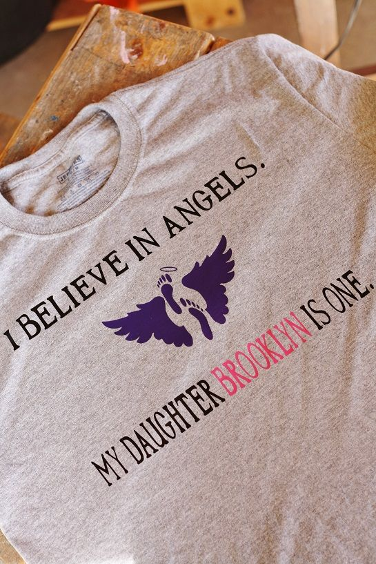460da9a4e I believe in Angels Personalized Grey T-Shirt Miscarriage Memorial, Birth  Quotes, Baby