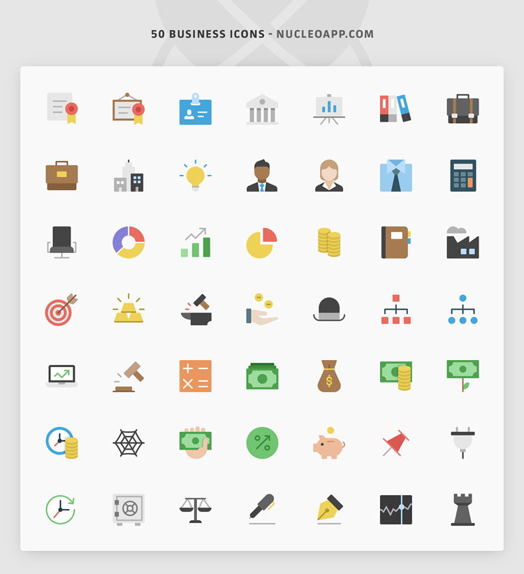 Freebie Line & Flat Business Icon Set (50 Icons, PNG