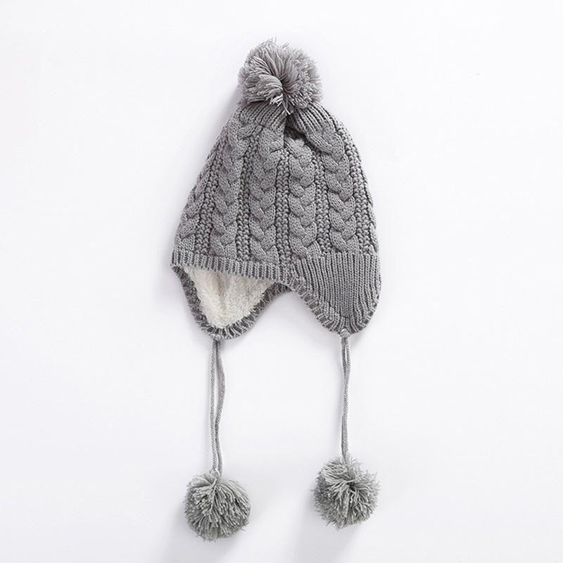 4240303920f Baby Boy Girl Hair Ball Earbud Hat Kids Child Winter Warm Knit Hats Cap H