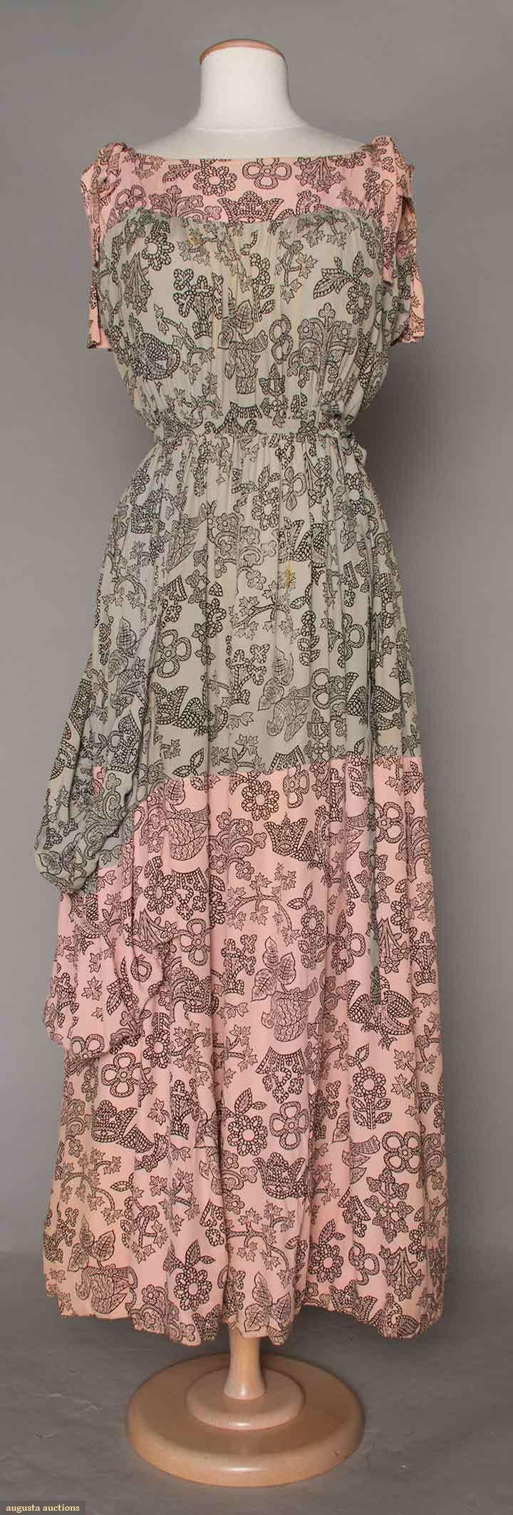 Vintage 1940s Color Block Swag Dress: ADRIAN PRINTED SILK SUMMER DRESS, 1940s Blue & Pink Color