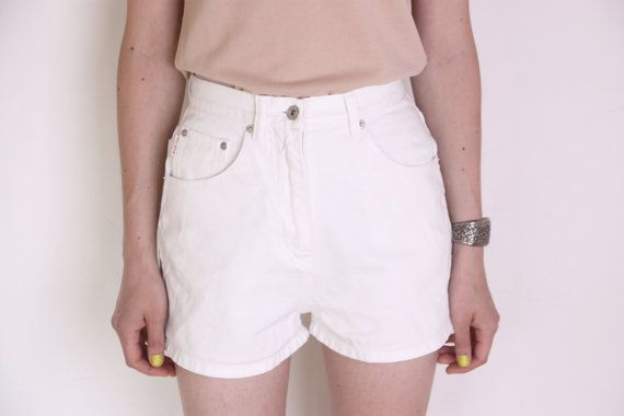90's white denim high waisted shorts white by WoodhouseStudios, $33.00