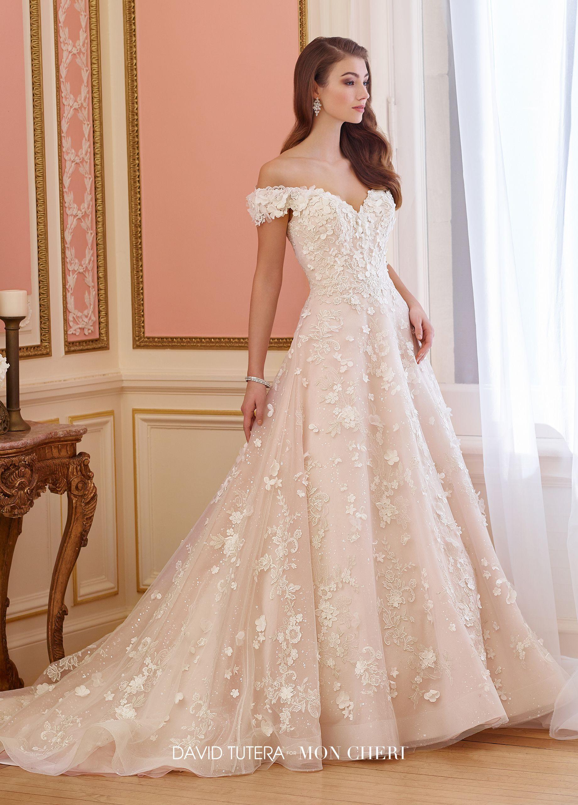 Dipped wedding dress  Lace OffTheShoulder Sweetheart ALine Wedding Dress  Elnora