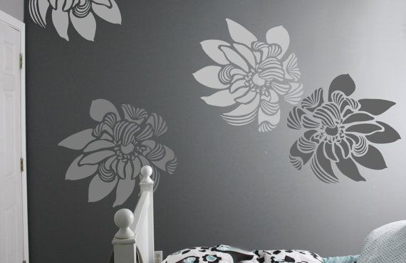 Flower Wall Stencil Wind Comes