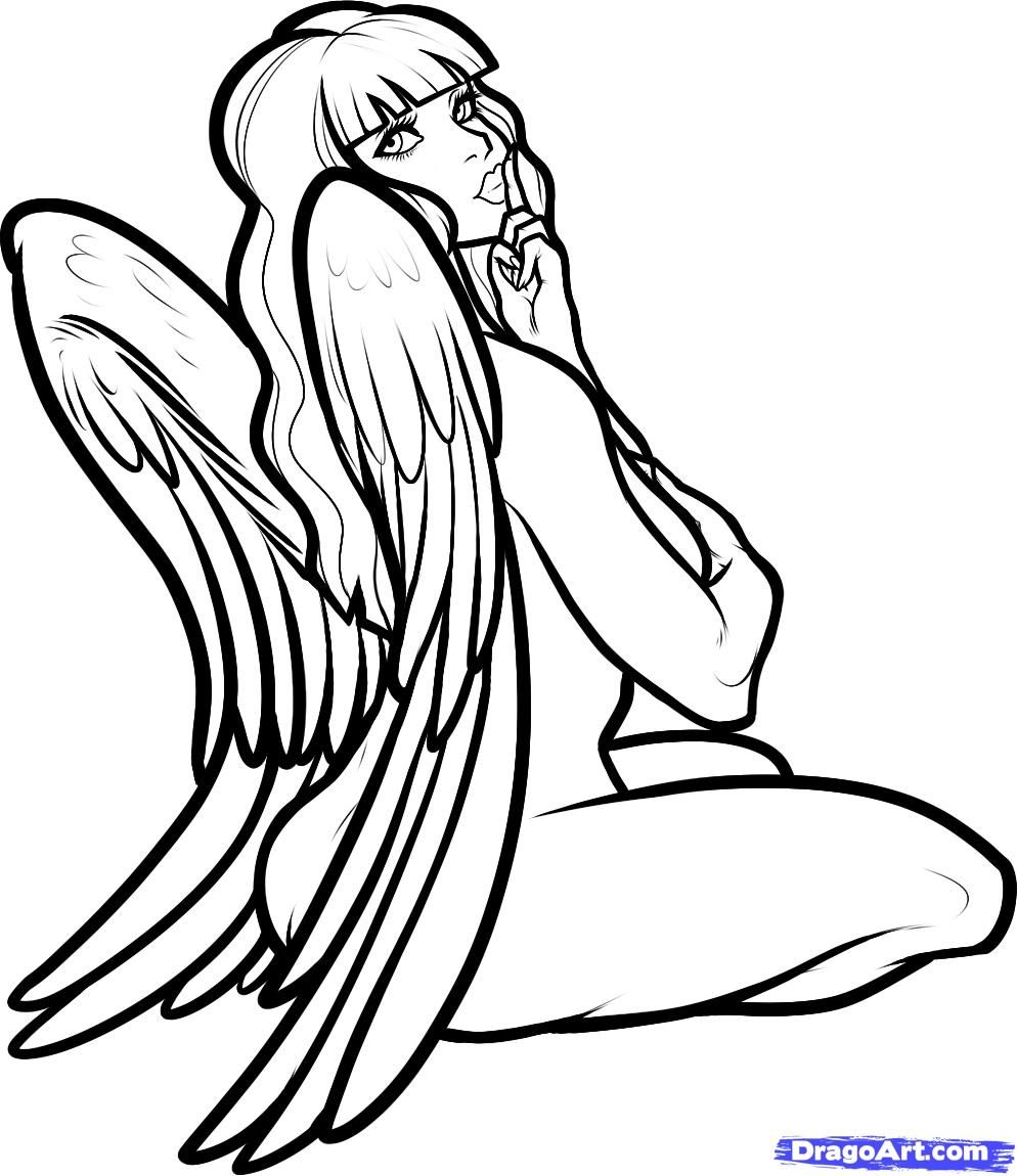 Bad Angel Girl Drawings How To Draw An Angel Girl Angel Girl Step By Step Fantasy Character Angel Drawing Easy Drawings Angel Drawing Easy