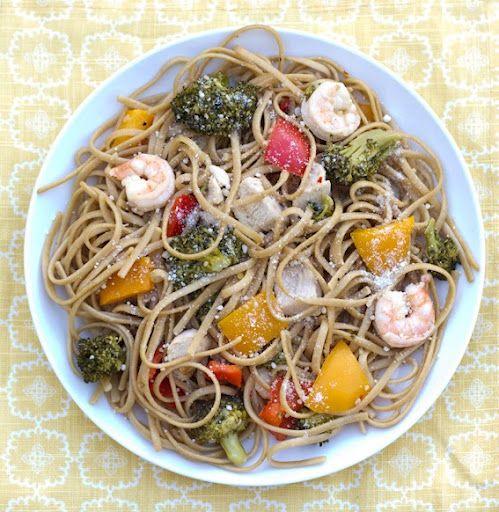 Chicken, Shrimp and Veggie Pasta.