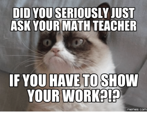 Ask Teachers And Show Did You Seriously Just Ask Your Math Teacher If You Have To Show Your Worka P Com Grumpy Cat Funny Good Morning Memes Choir Memes