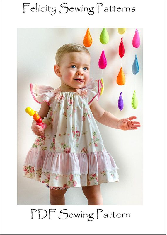 Sewing pattern, Butterfly Dress baby & girl\'s dress pattern ...