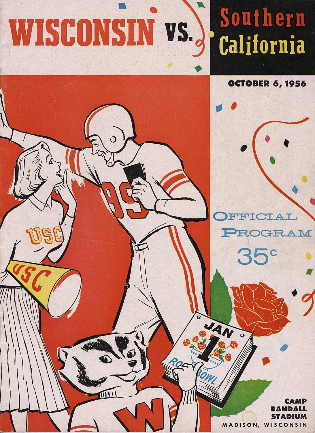 A Souvenir Program From The University Of Wisconsin Madison Football Game Against Southern California At Camp Randall Stadi Madison Uw Madison Vintage Football