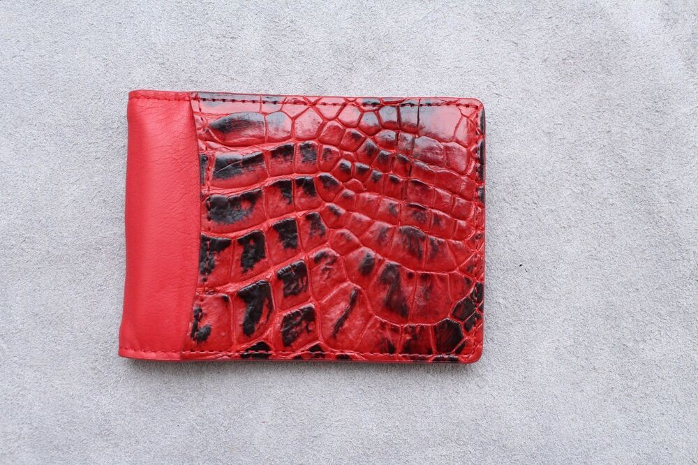 Genuine Crocodile Leather Skin Men/'s Money Clip Bifold Wallet Red