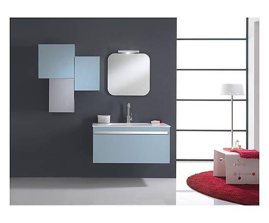 Salle de bain CLIZIA, mélamine céramique - bleu et chrome Salle de - salle de bain en bleu