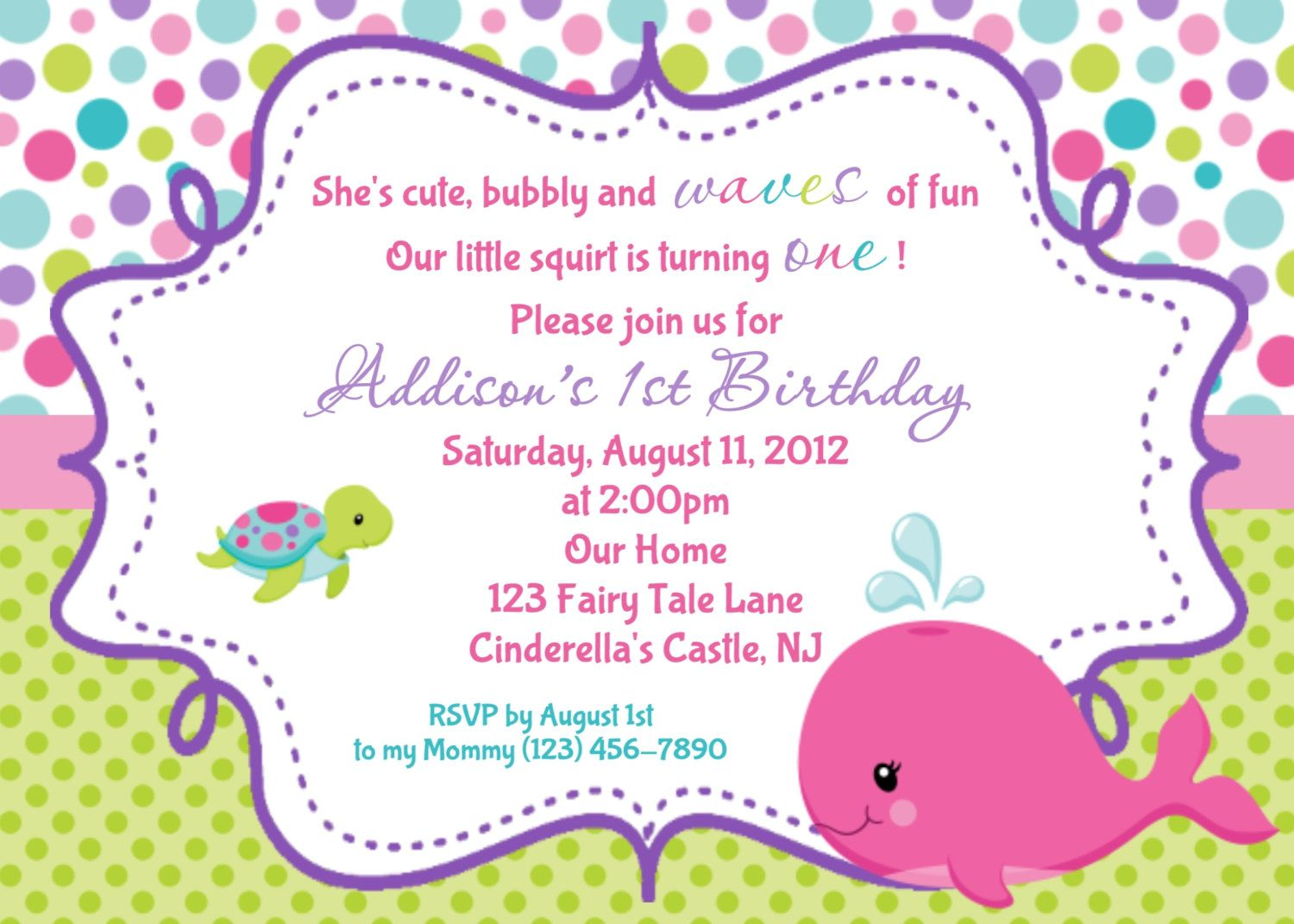 Whale birthday invitation print your own a fairy tale whale birthday invitation print your own stopboris Gallery