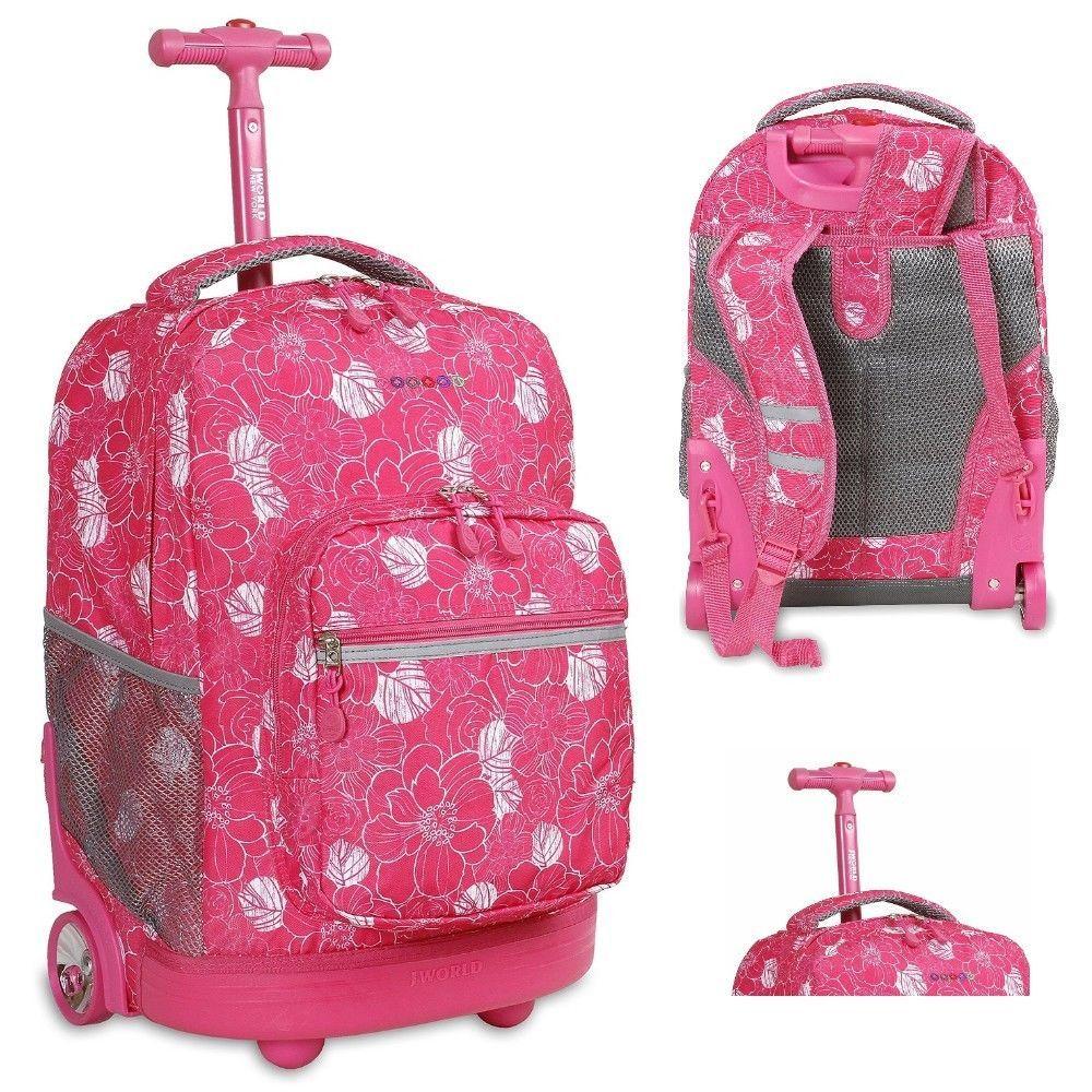 Pink School Wheeled Backpack Girls Rolling Bookbag Tote Womens Roller Luggage