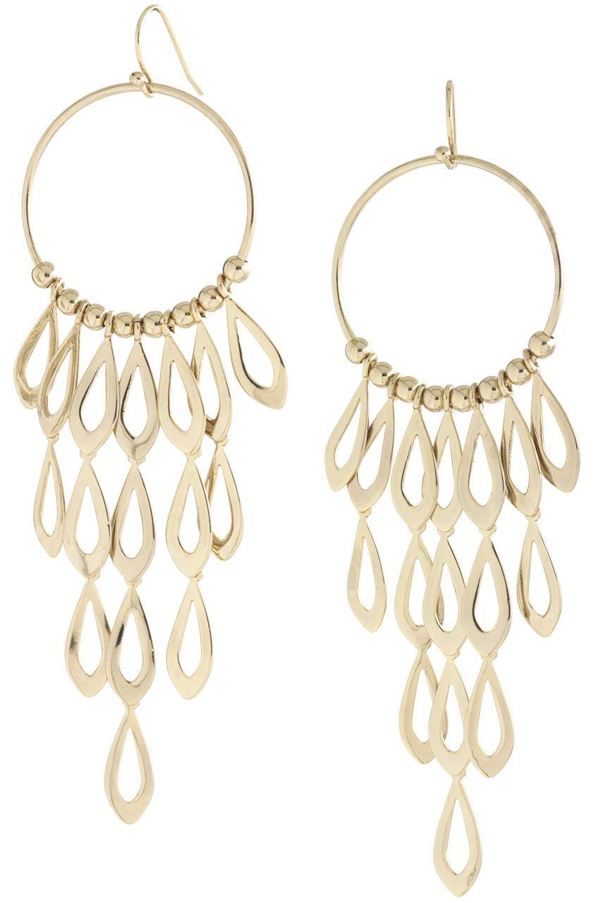 Gold Brass Teardrop Chandelier Earrings Tigris Stella Dot