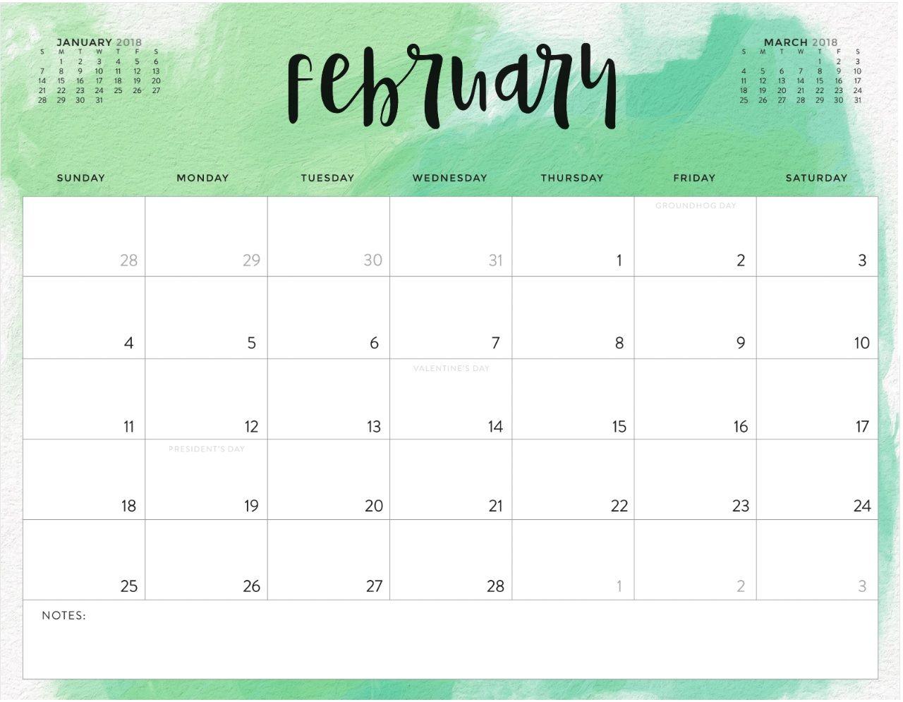 february 2018 calendar design