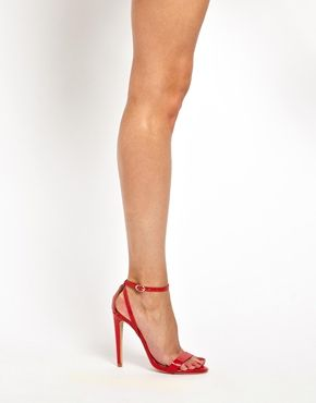 aeb73ab406c River Island Barely There Red Heeled Sandals